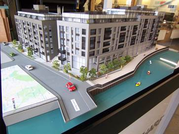 Architectural model of Legacy Wharf apartments for Bellway