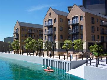 Architectural model of Lion Wharf apartments for Bellway