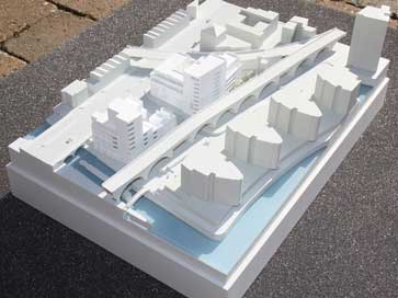 Architectural block model of Thames Basin for Bellway