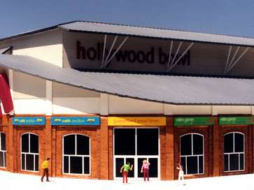 Architectural model of Hollywood Bowl bowling alley and shops development