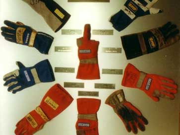 Boxed presentation of racing gloves