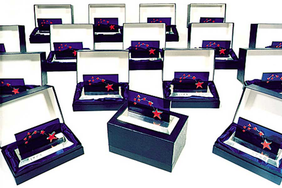 British Telecom awards in presentation boxes