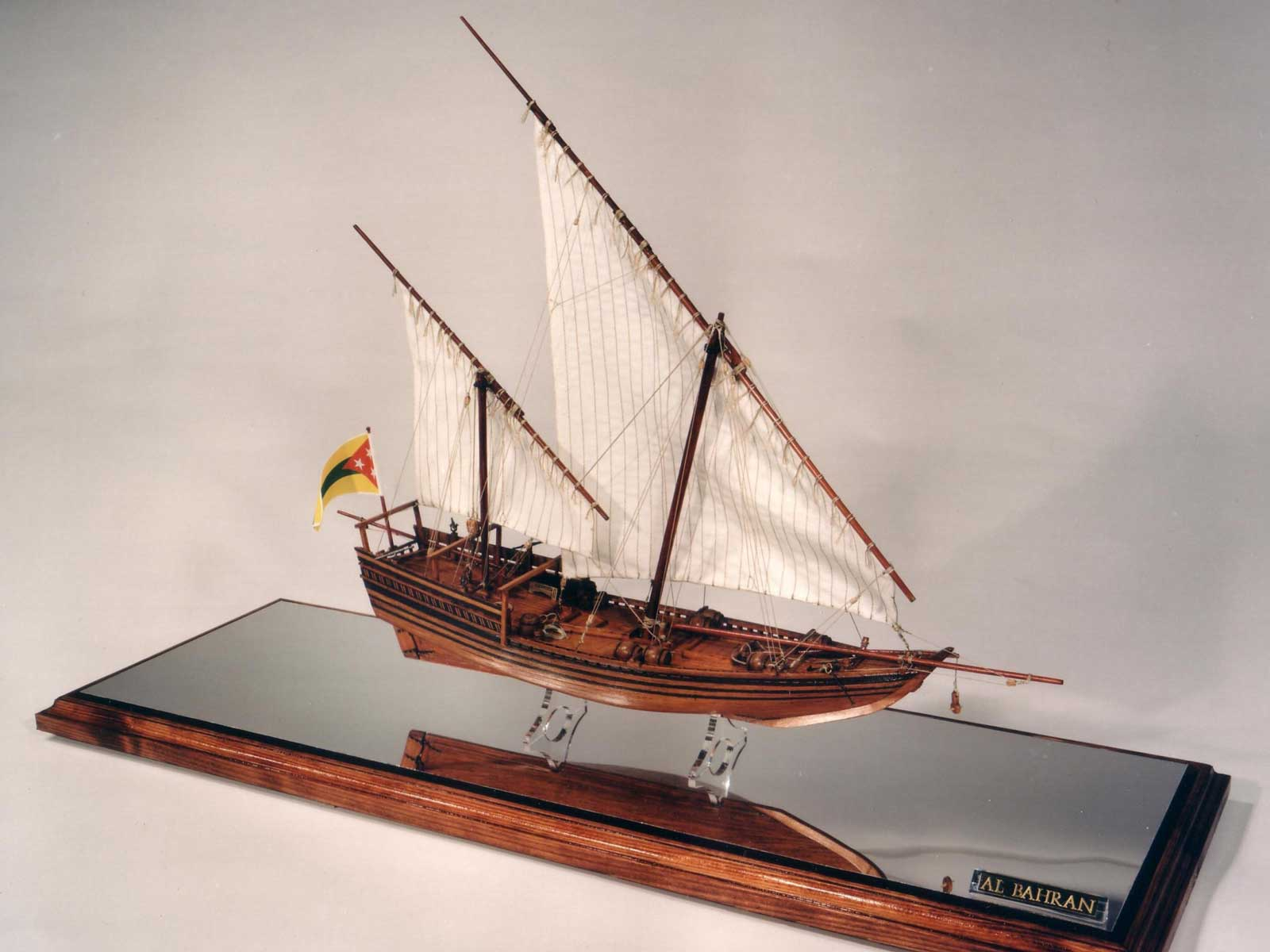 Photograph of a model boat presented as a gift to the King Of Bahrain