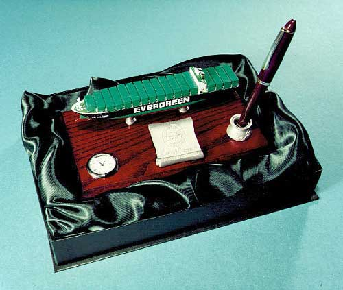 Photograph of a desk set in a presentation box
