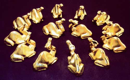 Photograph of gold camels