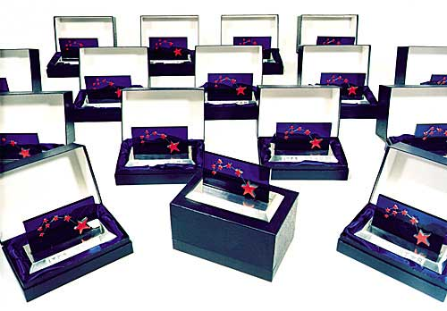 Photograph of stars in presentation boxes