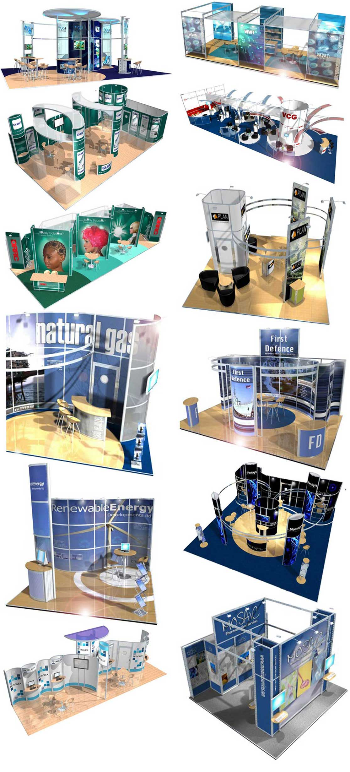 Photograph strip of a variety of exhibition stands