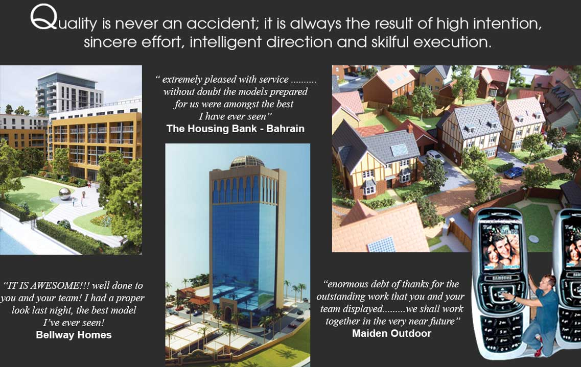 Collage of architectural models and testimonials