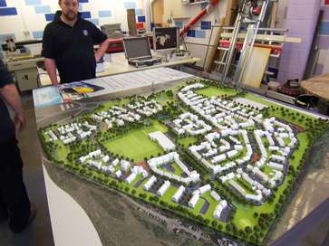 Architectural model at 1:500 scale of the Ebbsfleet project for Redrow