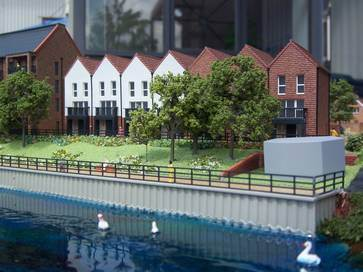 1:200 architectural model of Temple Waterfront project for Redrow