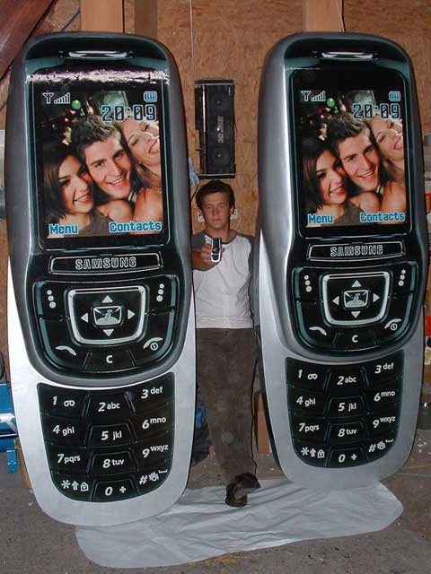 A pair of giant Samsung mobile phones